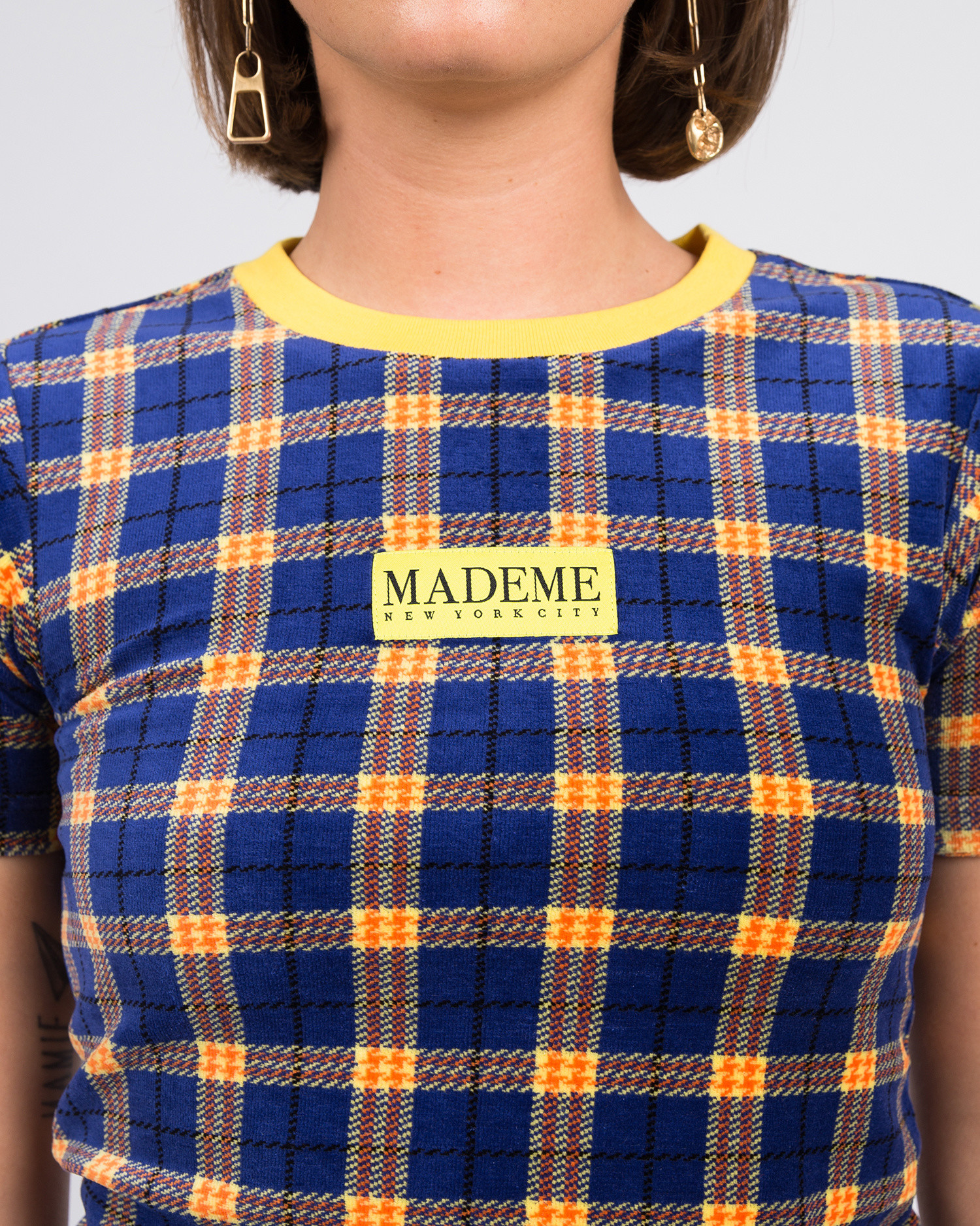 MadeMe Velour Plaid Baby Tee Blue