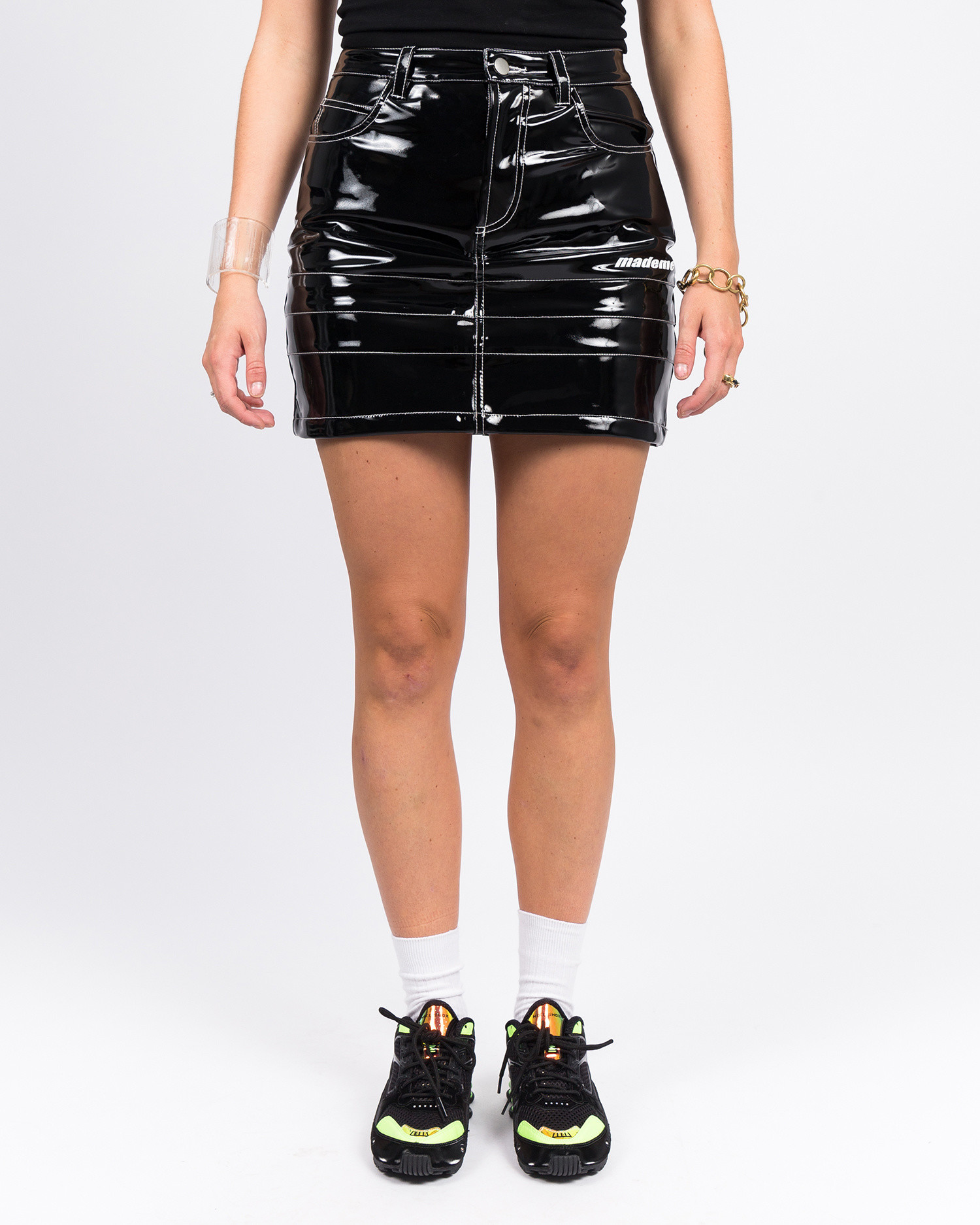 Made Me Vinyl Skirt Black Patent