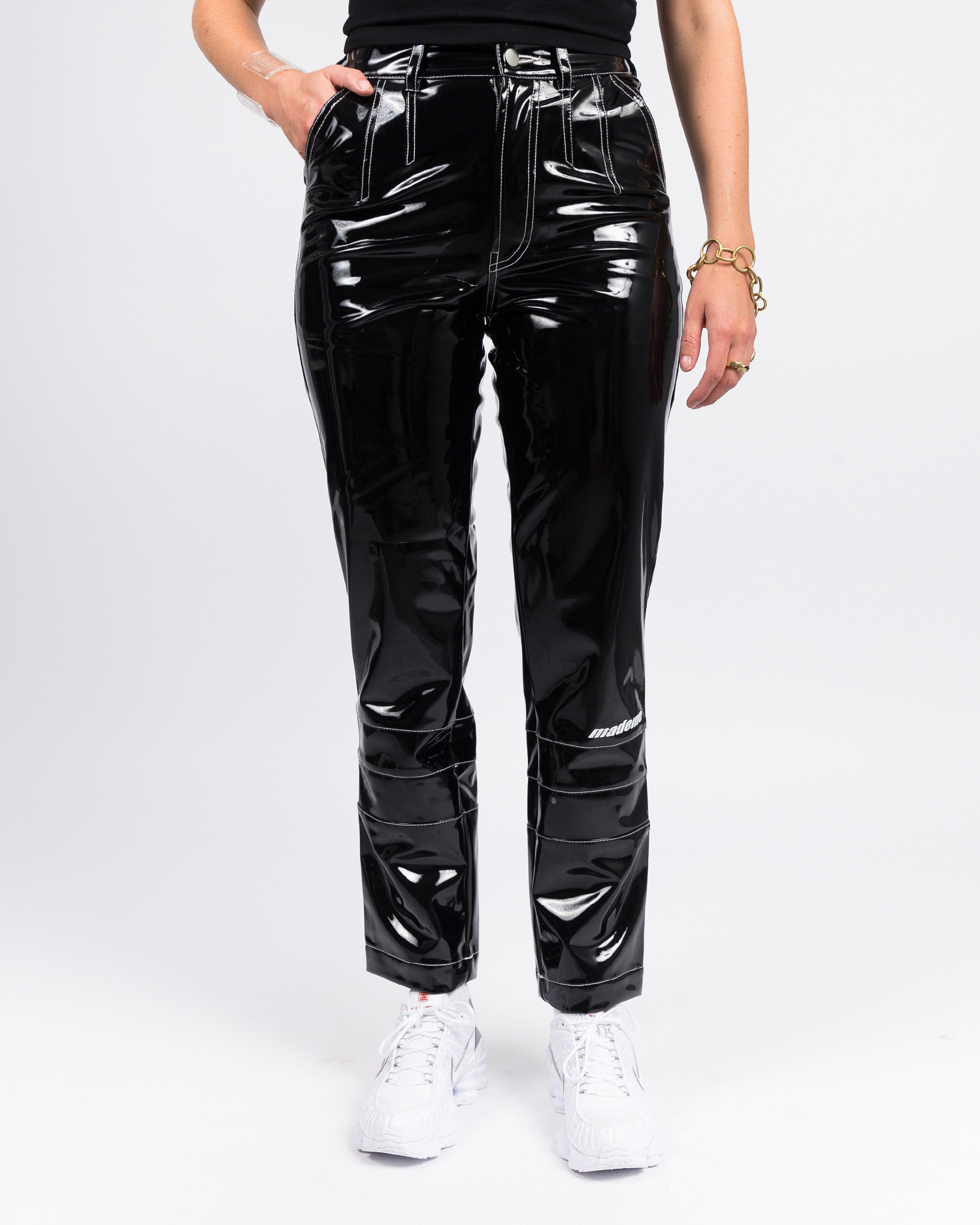 MadeMe Vinyl High Waisted Pant Black Patent
