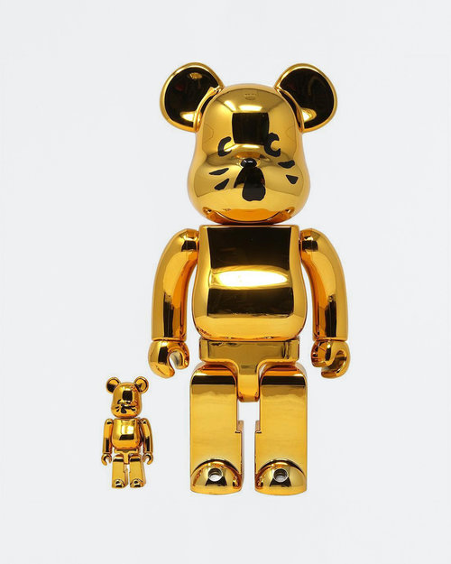 MEDICOM TOY BE@RBRICK Nya- Gold Plated ver 100% + 400%