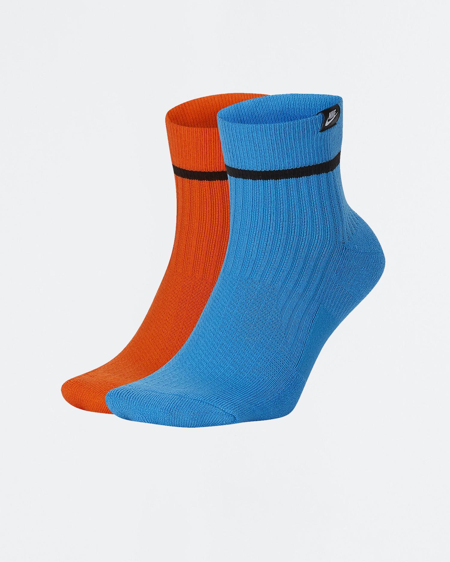 Nike 2-pack ankle sneaker sox multi color orange/blue