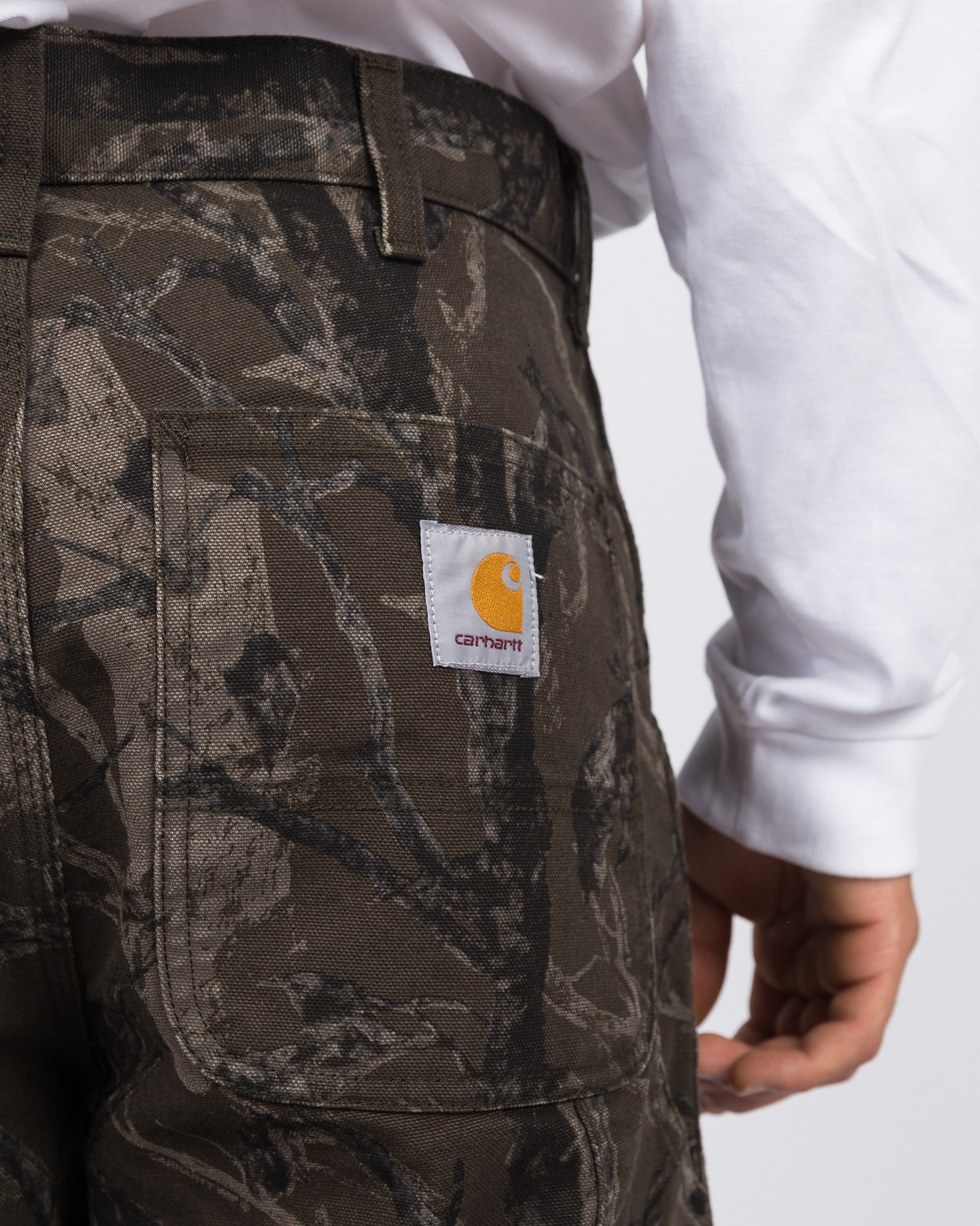 Carhartt single knee pant camo tree/green rinsed