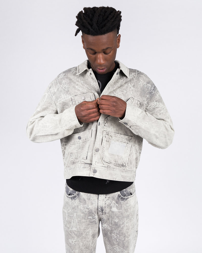 Paccbet Paccbet Printed Denim Jacket Light Grey