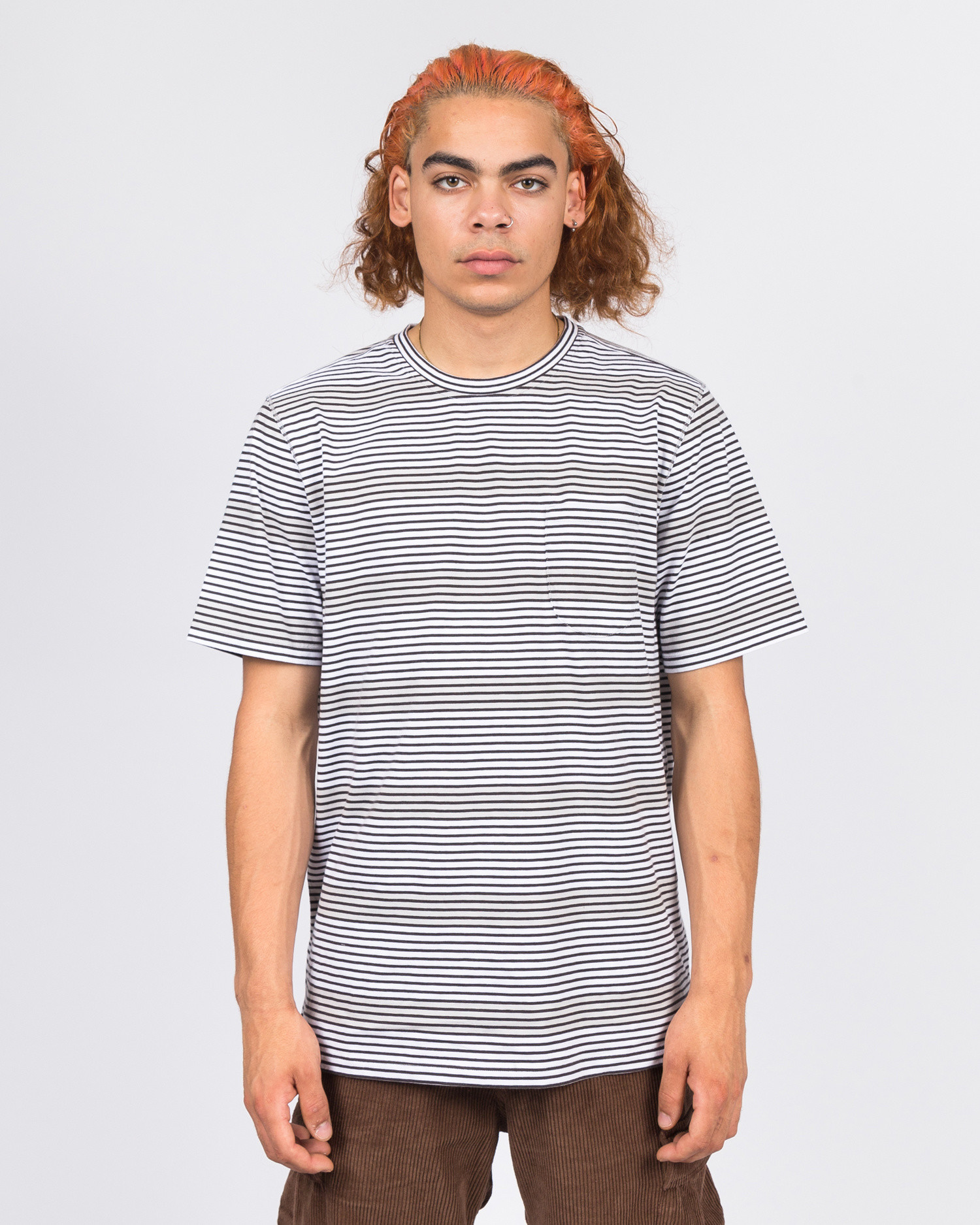 Pop Trading Co harde stripe t-shirt anthracite/white