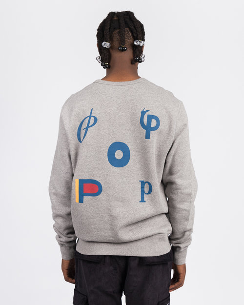 Pop Trading Co Pop Trading Co X parra logo crewneck heather grey