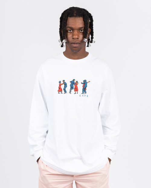 Skateboard Cafe Skateboard Cafe Dance All Over Longsleeve Tee White