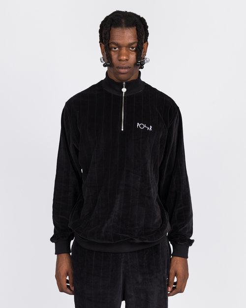Polar Polar Velour Zip Neck Sweatshirt Black