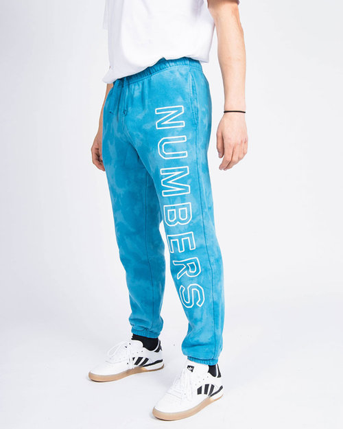 Numbers Edition Numbers Outline Wordmark Fleece Bottoms Indigo Tie Dye
