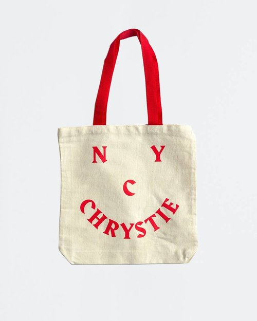 Chrystie Chrystie Smile Logo Tote Bag Red