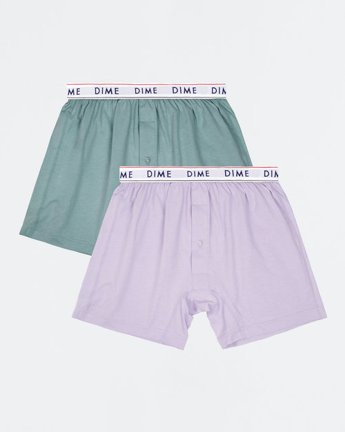 Dime Dime Loose Fit Boxers (2 pack) Green/Light Purple S