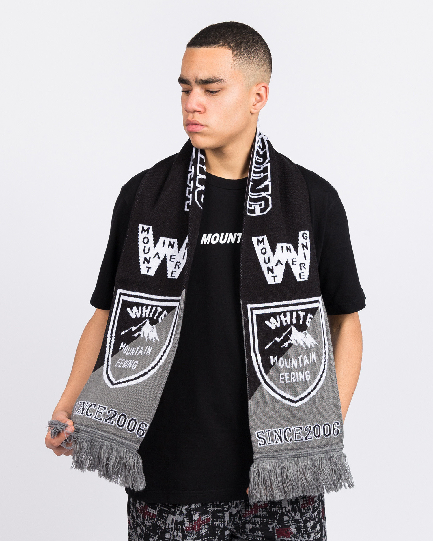 White Mountaineering Football Muffler Black