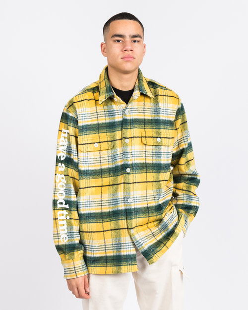 HAVE A GOOD TIME Have A Good Time Side Logo Checked Shirt Yellow