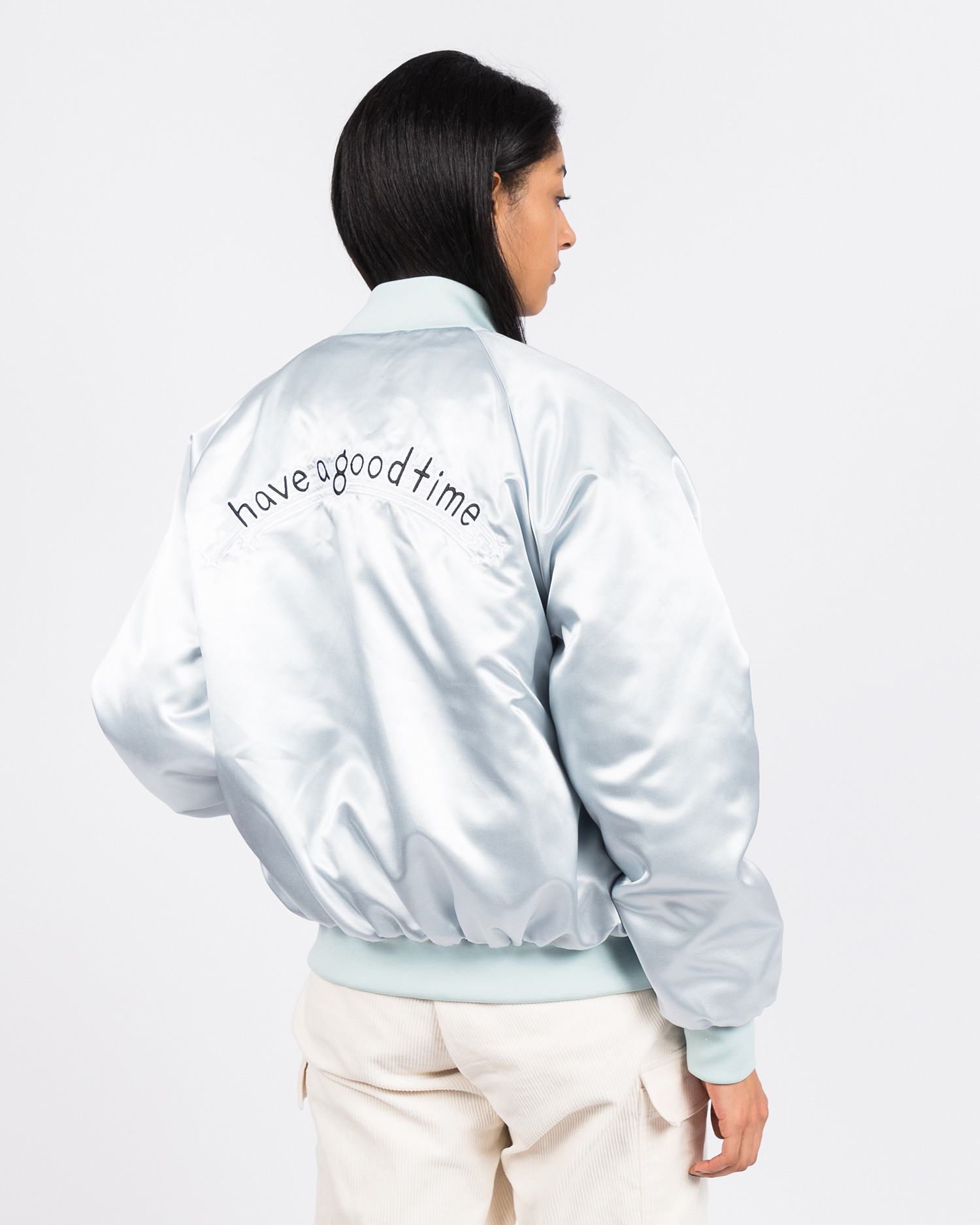 Have A Good Time Club Stadium Jacket Silver