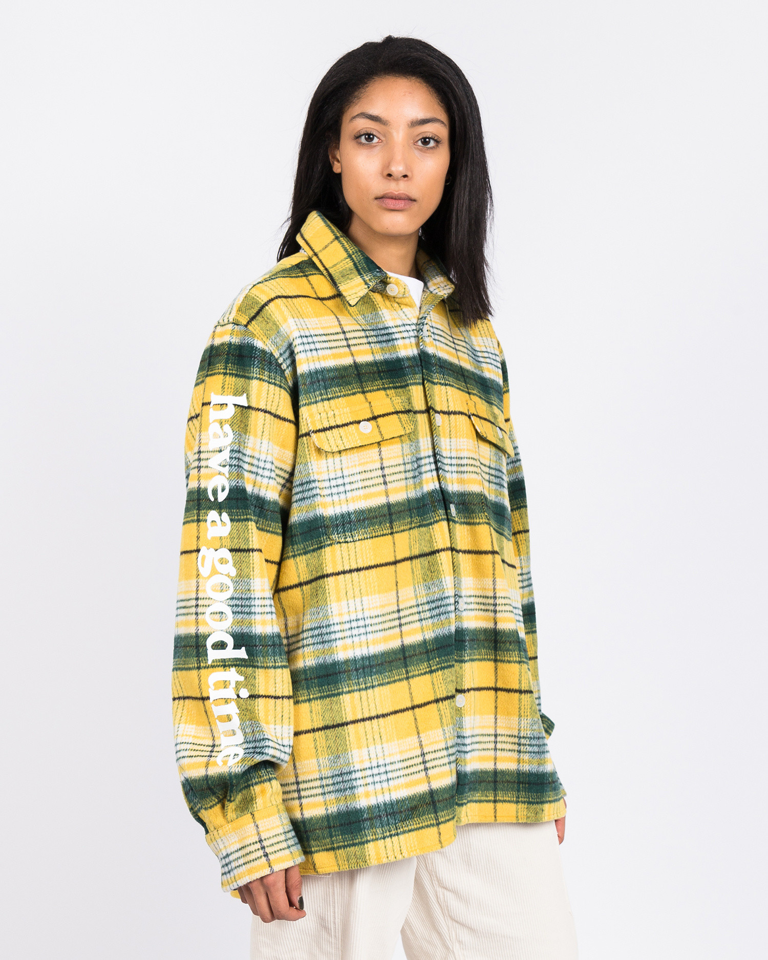 Have A Good Time Side Logo Checked Shirt Yellow