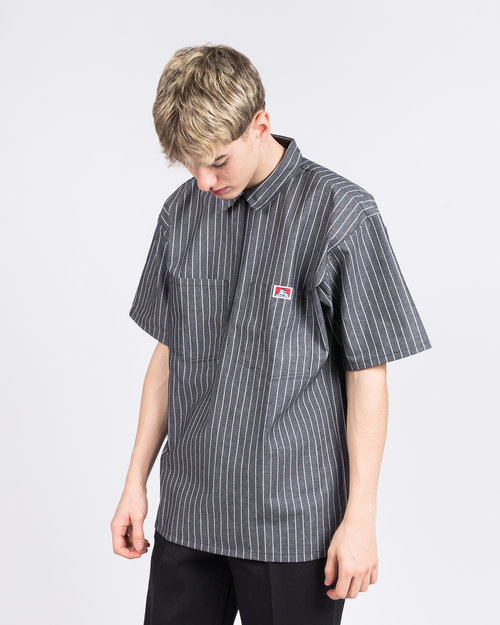 Ben Davis Ben Davis 1/2 ZIPPER SHORT SLEEVE STRIPE Butcher Block Stripe