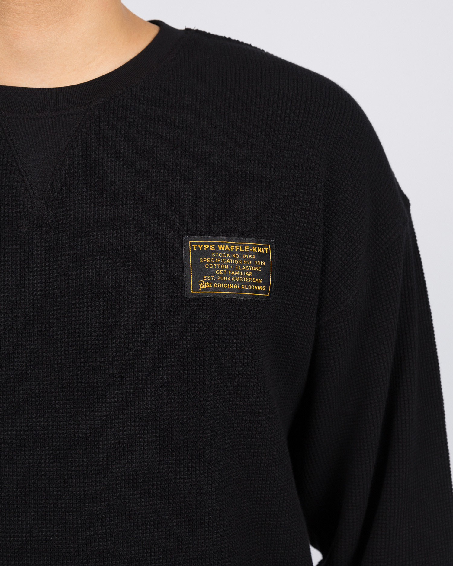 Patta Military Wafle Crewneck Sweater Black