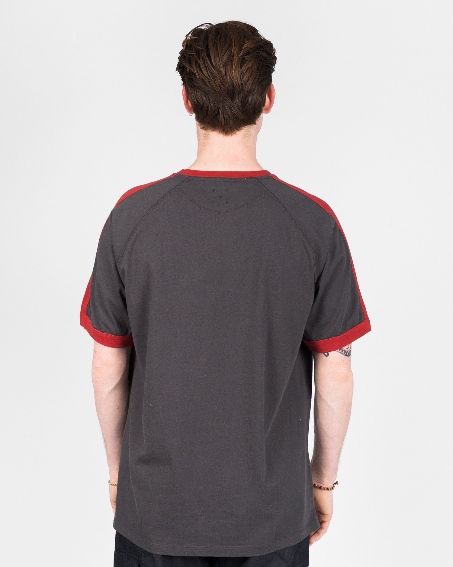 Pop Trading Co keenan t-shirt charcoal/pepper red