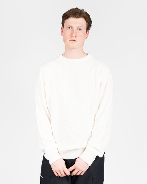 Pop Trading Co Pop Trading Co checked panel knit off white