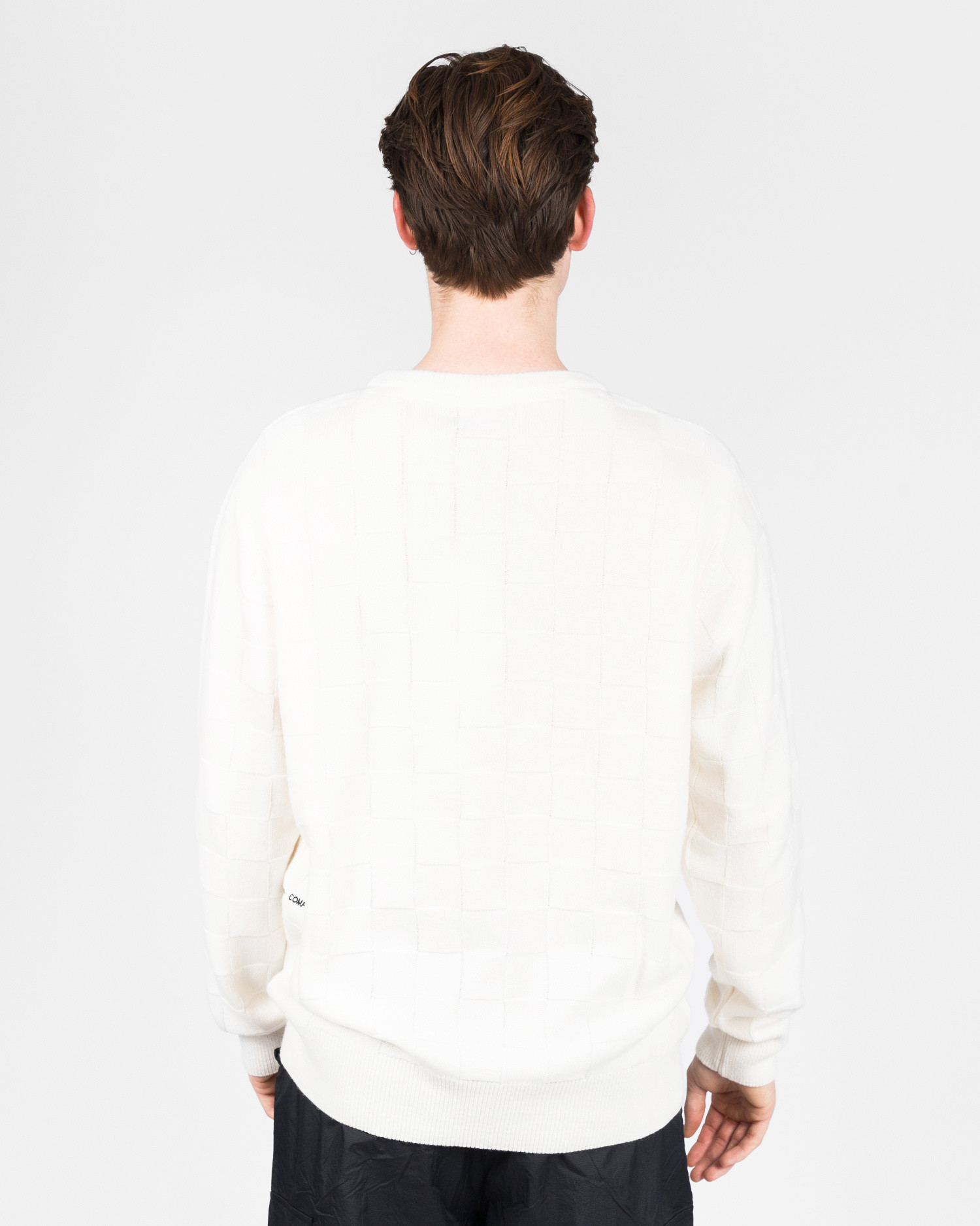 Pop Trading Co checked panel knit off white