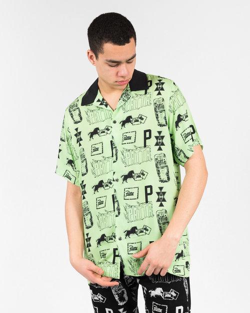 Patta Patta Stamp Rayon shortsleeve shirt Paradise green/black