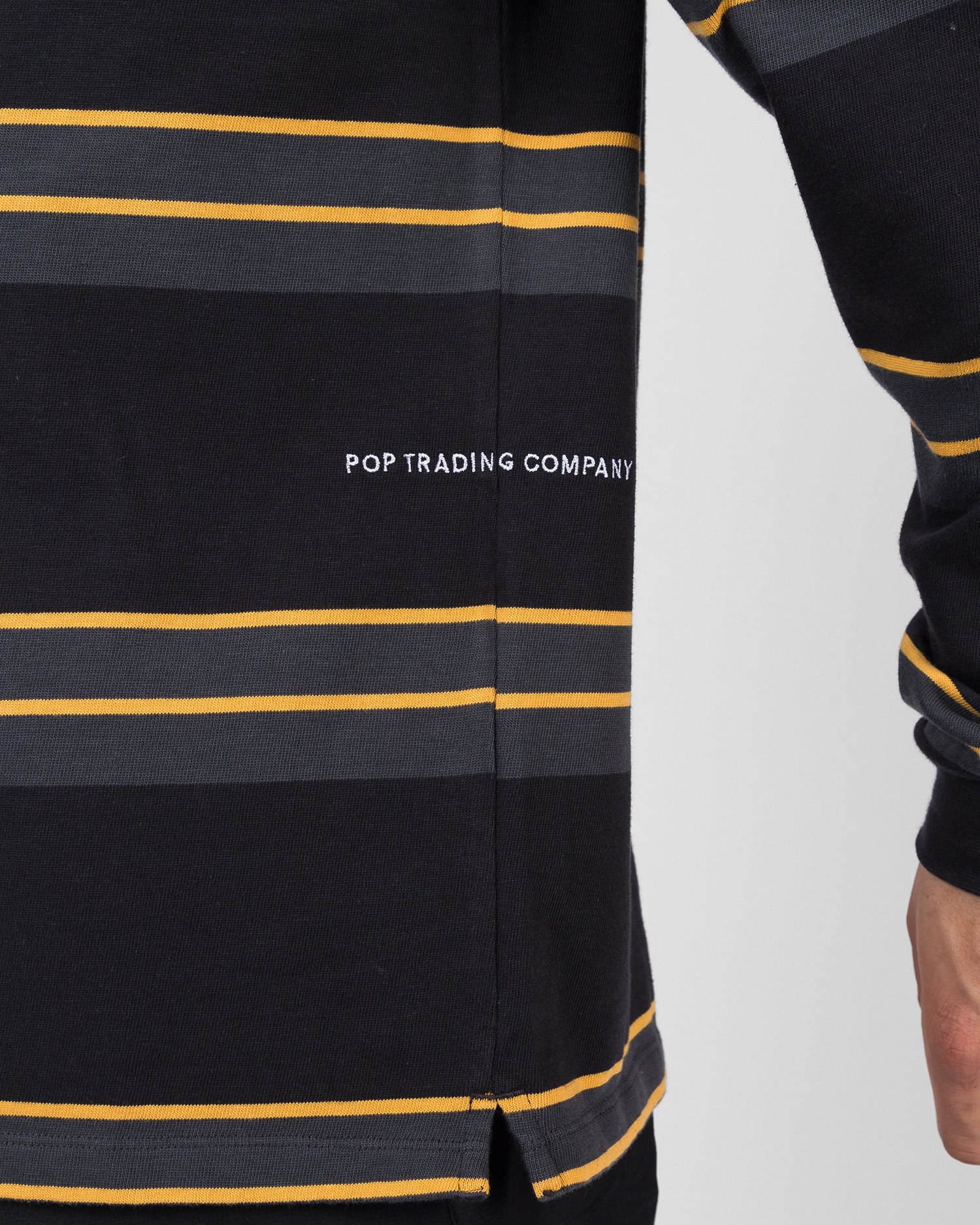Pop Trading Co Striped longsleeve anthracite/yellow