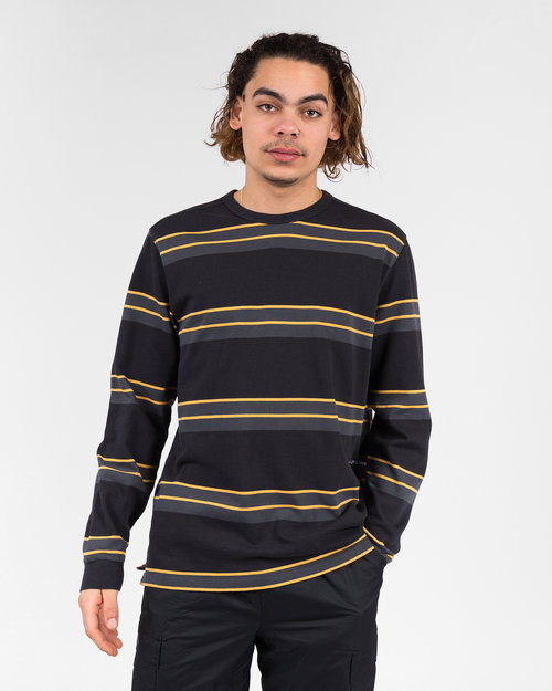Pop Trading Co Pop Trading Co Striped longsleeve anthracite/yellow