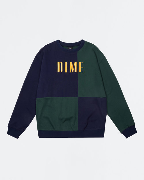 Dime Dime Block Terry Crewneck Navy & Green