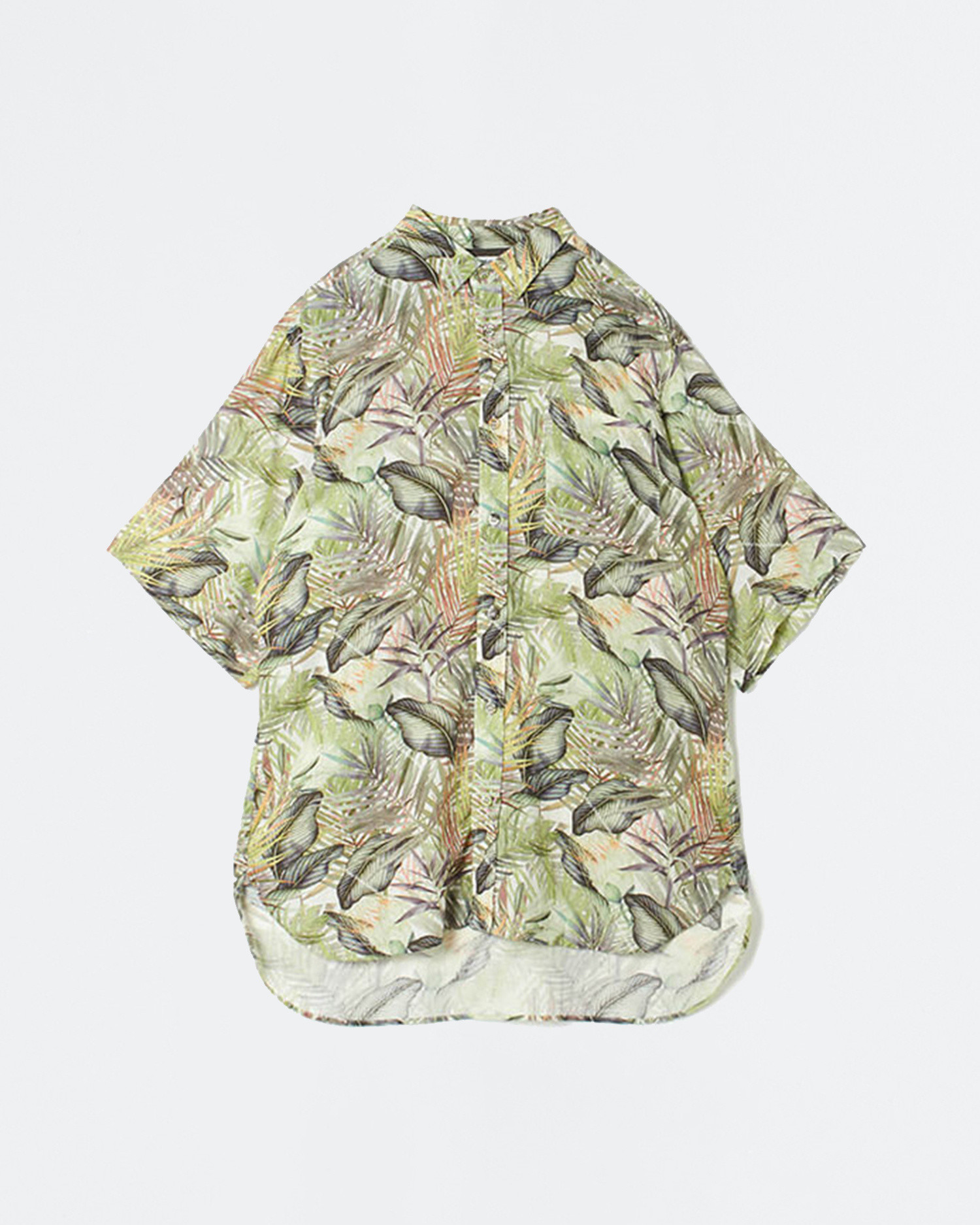 White Mountaineering Woven Shirt Botanical Printed Big Half Sleeves Khaki