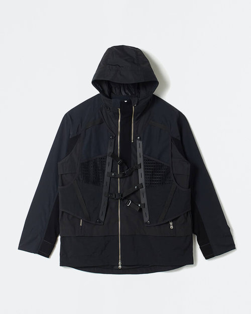 White Mountaineering White Mountaineering Layered Hooded Jacket Black