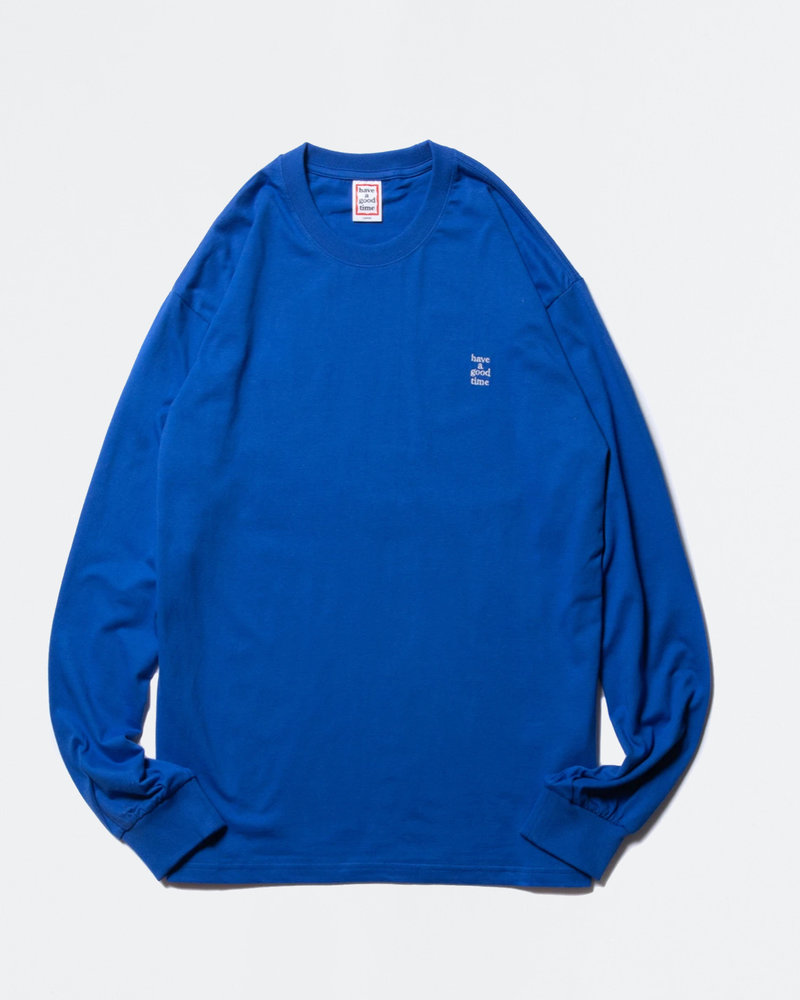 HAVE A GOOD TIME Have A Good TIme Mini Embroidered Logo Longsleeve Tee Cobalt Blue