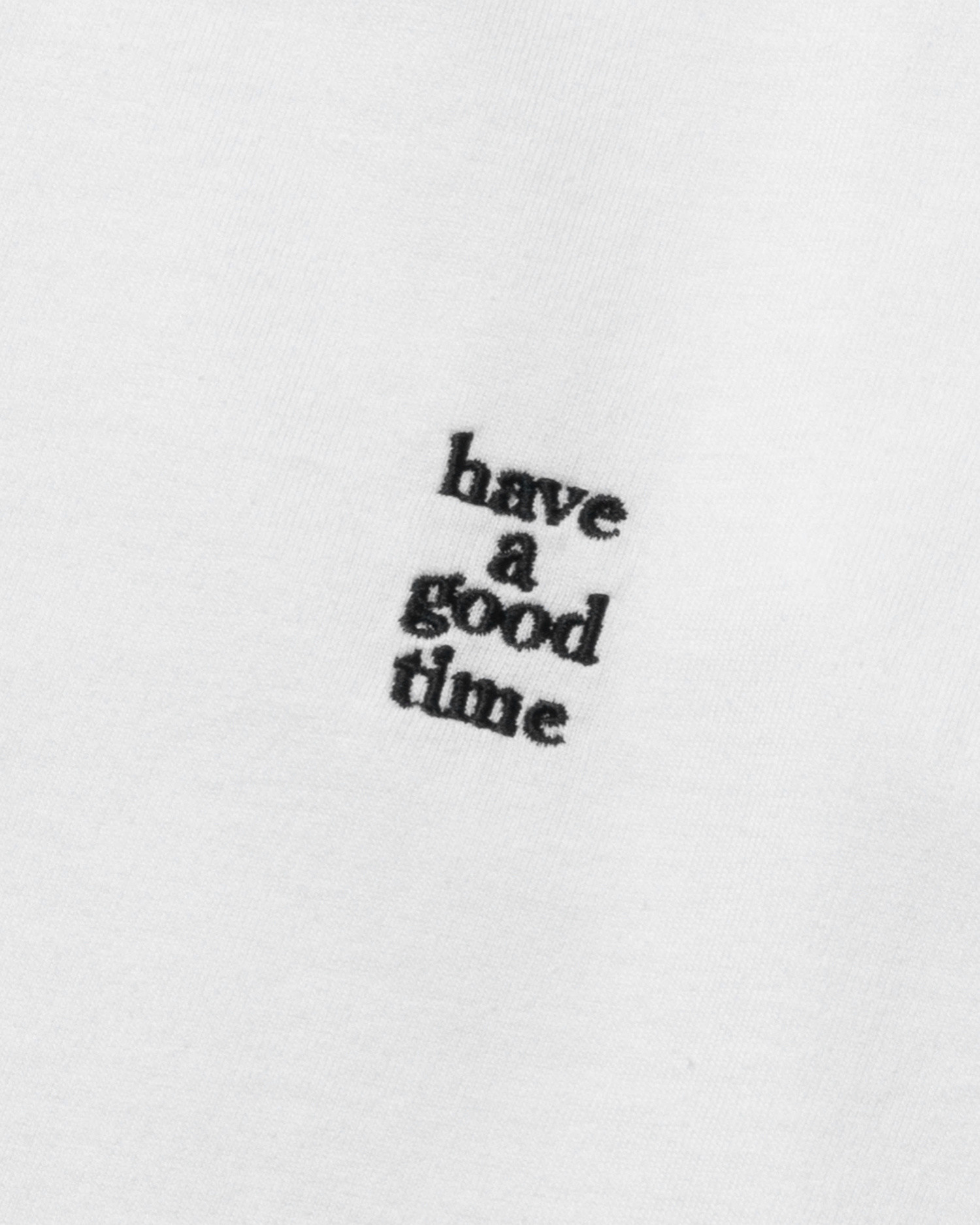 Have A Good TIme Mini Embroidered Logo Longsleeve Tee White