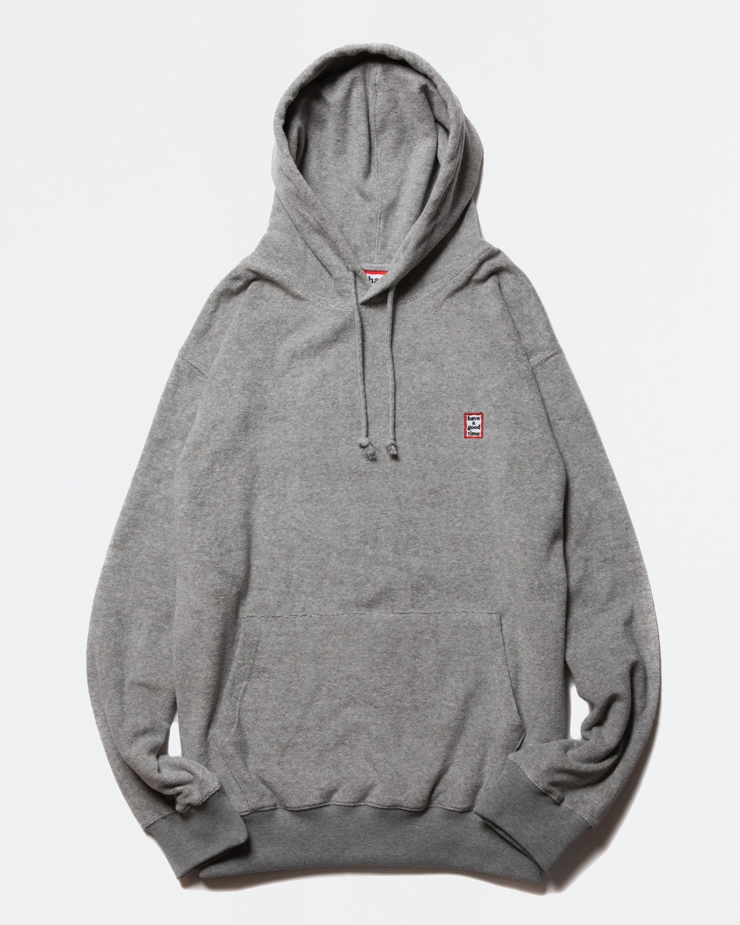 Have A Good Time Mini Frame Terry Pullover Hoodie Gray