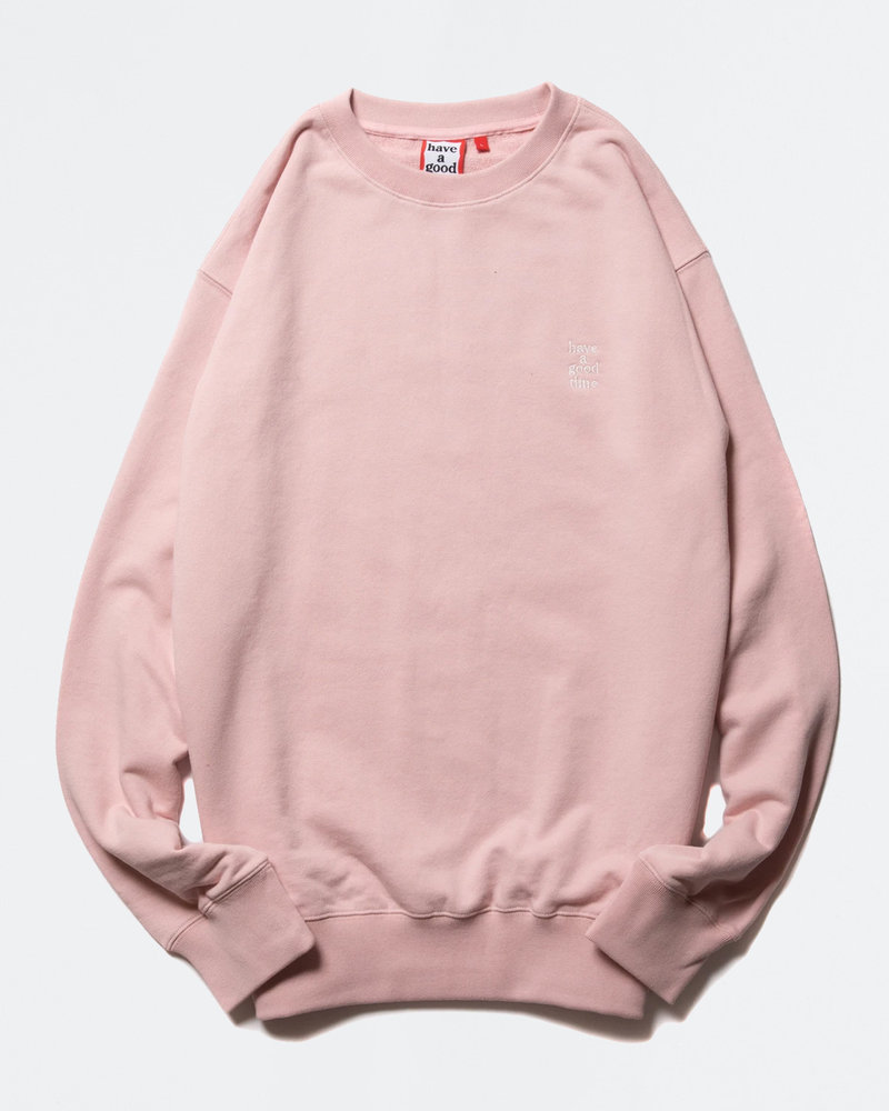 HAVE A GOOD TIME Have A Good Time Mini Logo Embroidered Crewneck Ash Pink