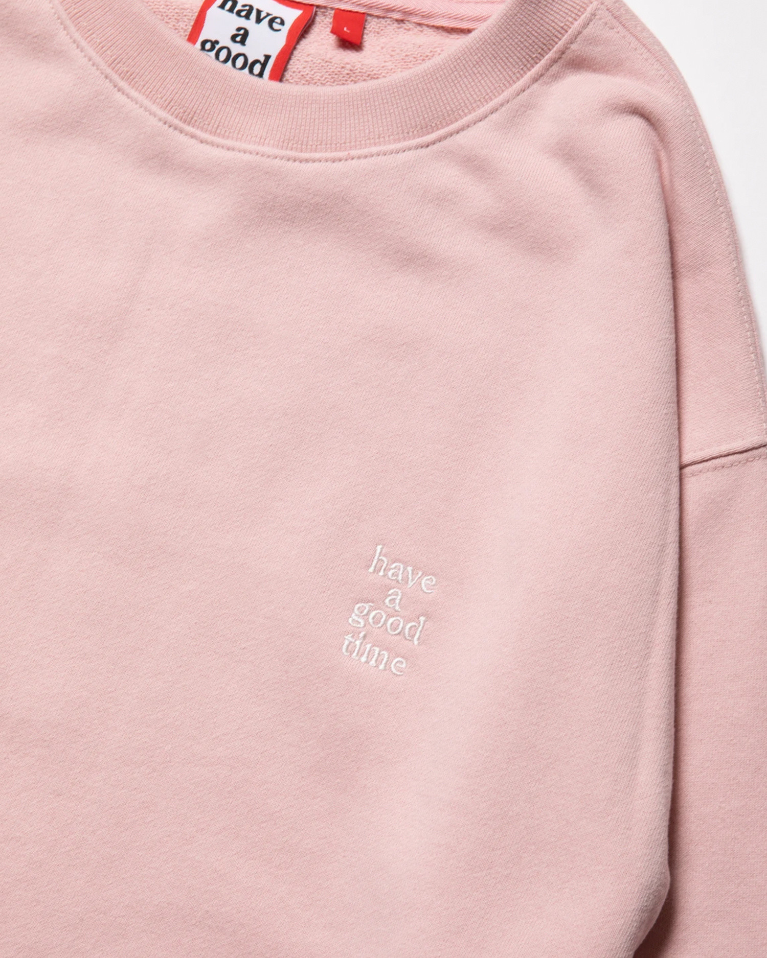 Have A Good Time Mini Logo Embroidered Crewneck Ash Pink