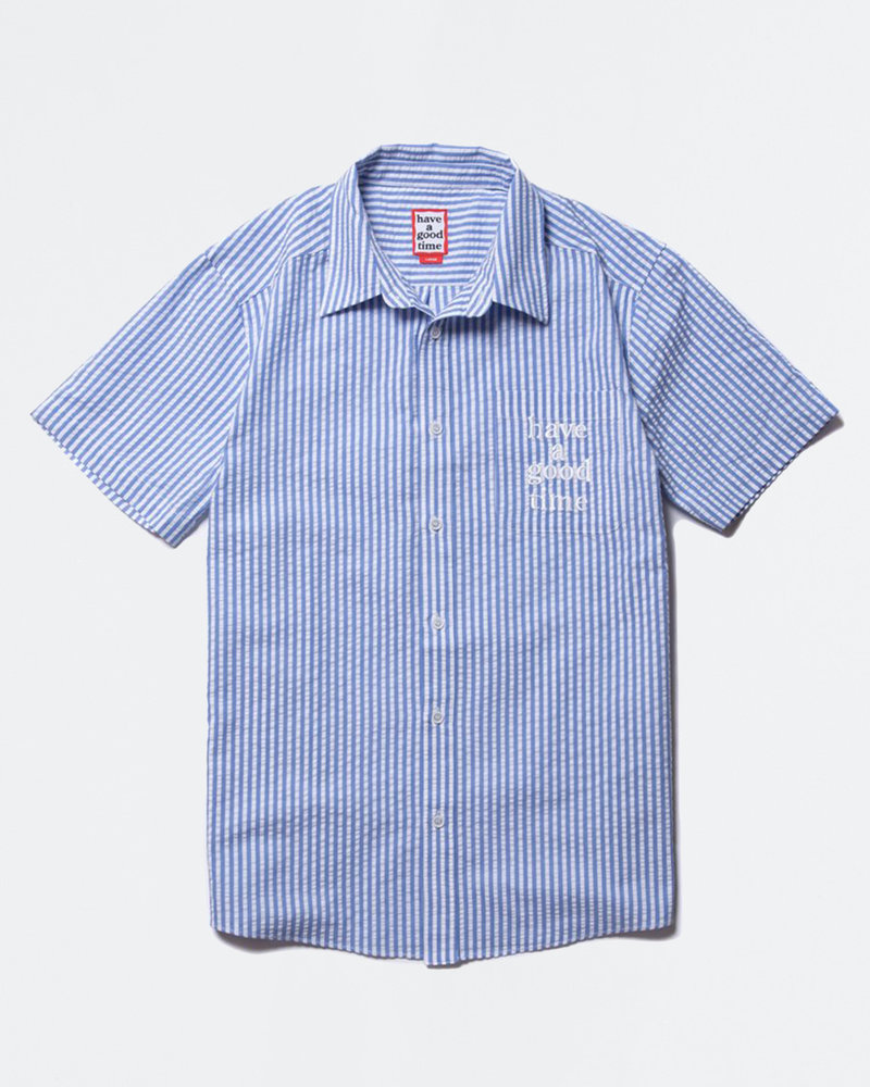 HAVE A GOOD TIME Have A Good Time Striped Seersucker Shirt Blue