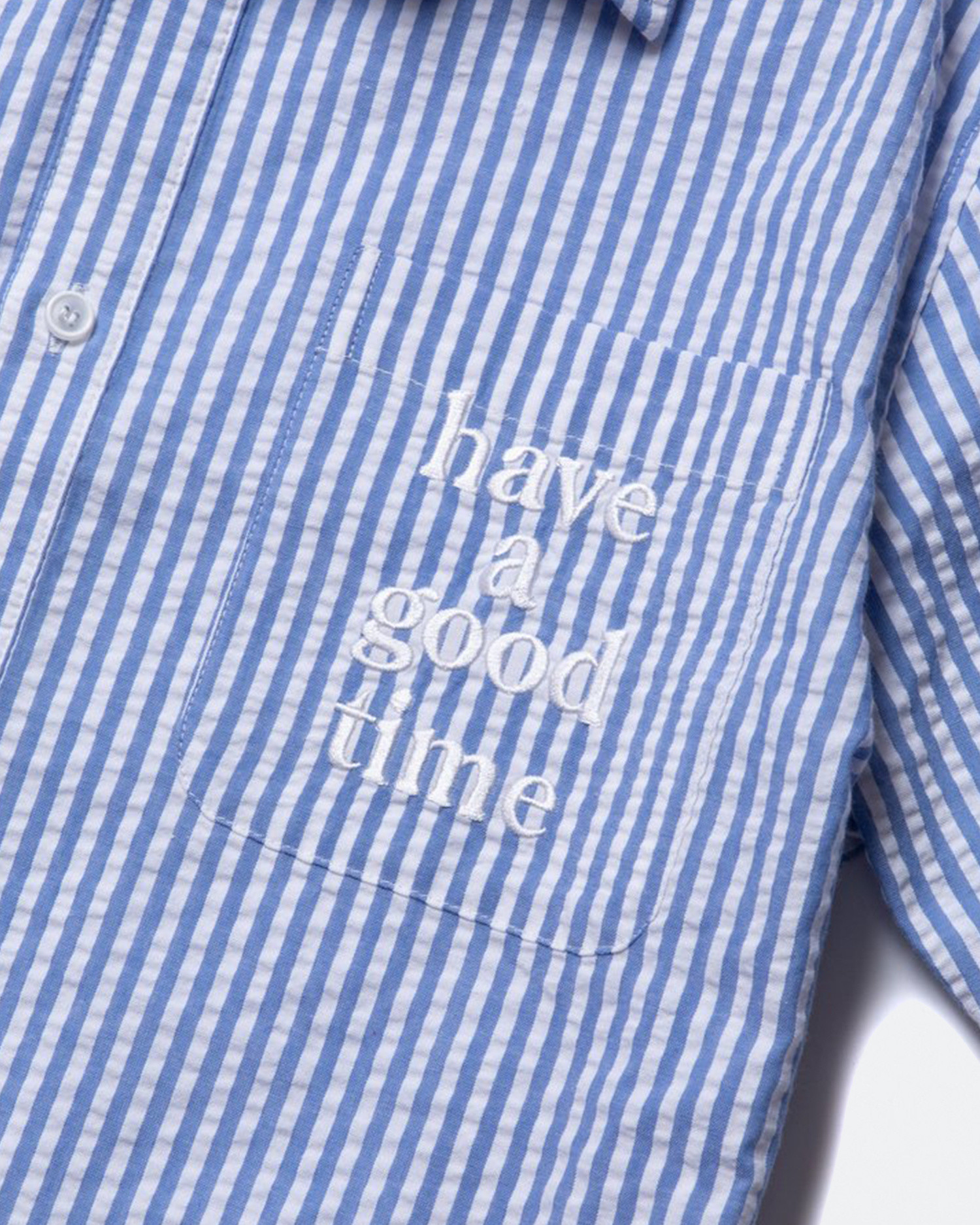 Have A Good Time Striped Seersucker Shirt Blue
