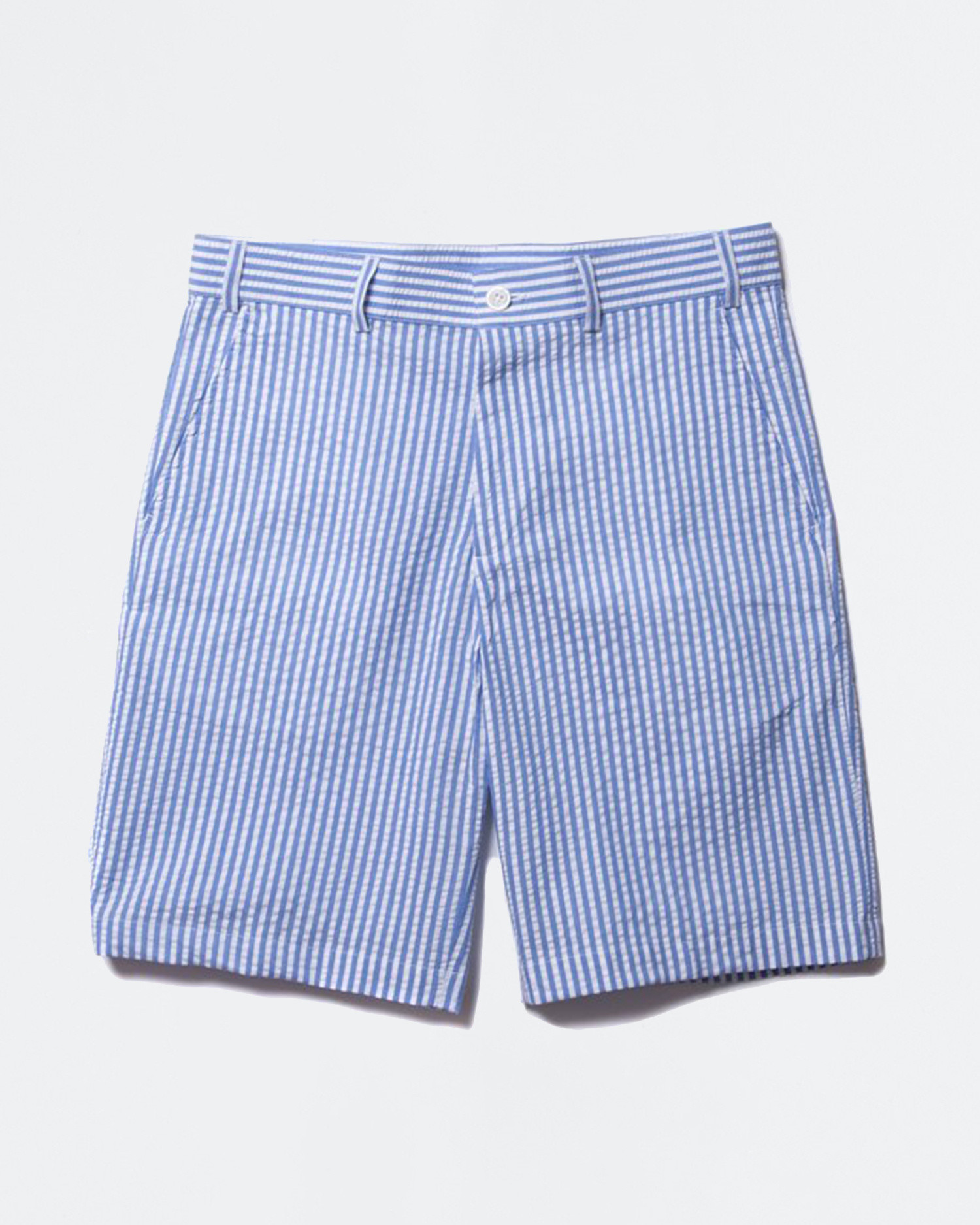 Have A Good Time Striped Seersucker Shorts Blue