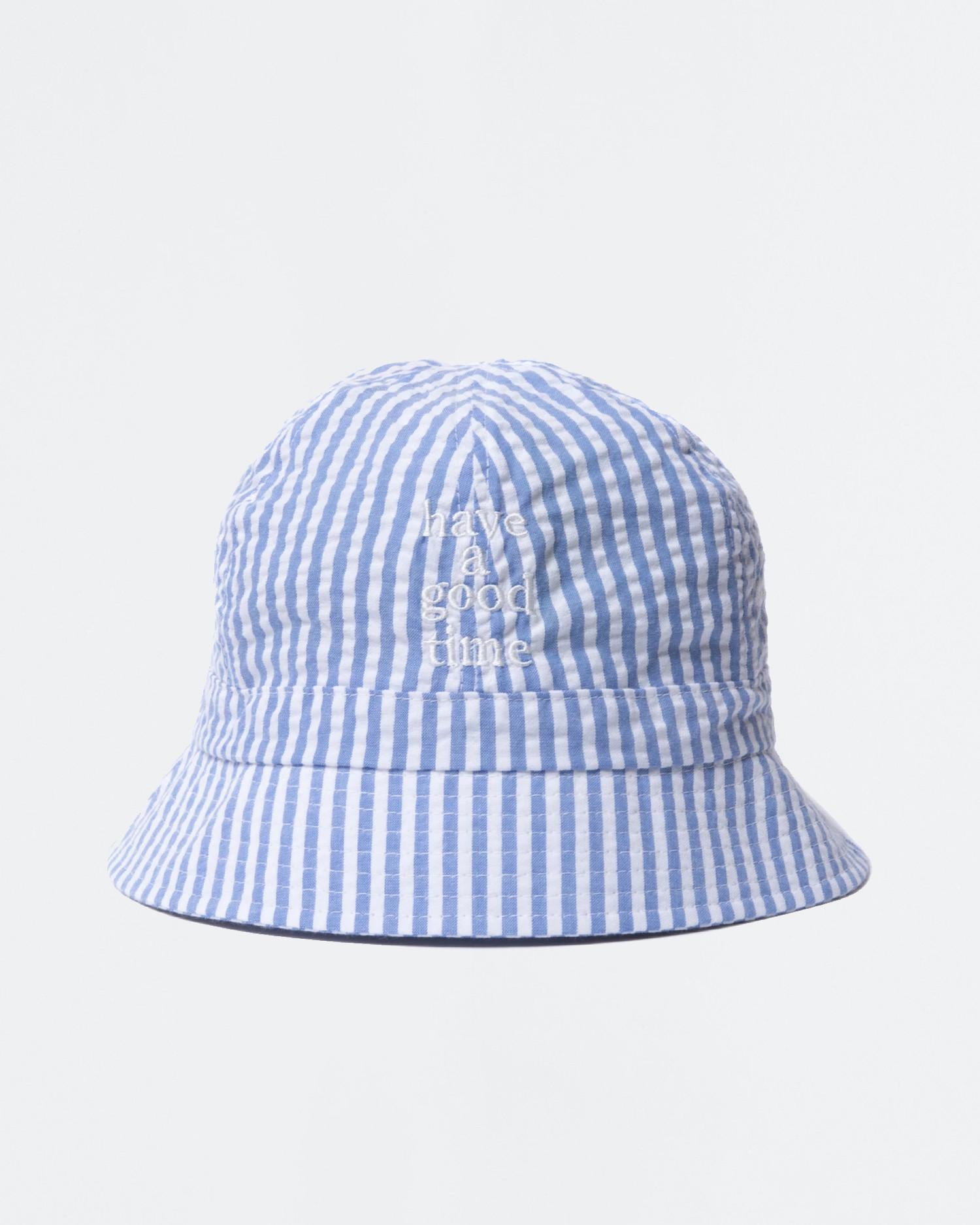 Have A Good Time Striped Seersucker Bucket Hat Blue