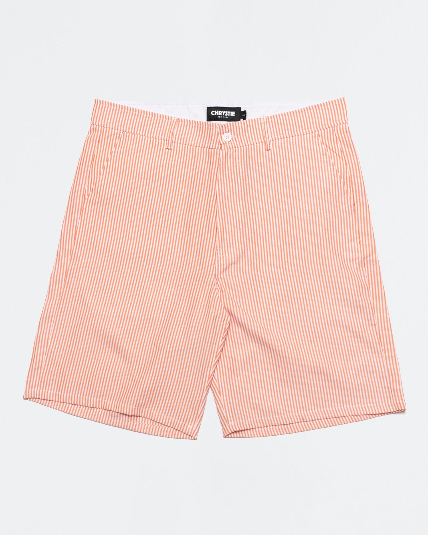 Chrystie NYC OG Logo Seersucker Short Pant Orange Stripes
