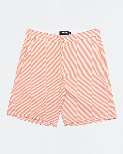 Chrystie Chrystie NYC OG Logo Seersucker Short Pant Orange Stripes
