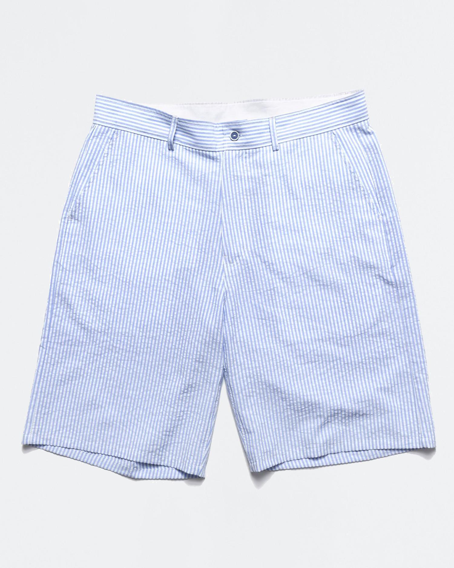 Chrystie NYC OG Logo Seersucker Short Pant Blue Stripes