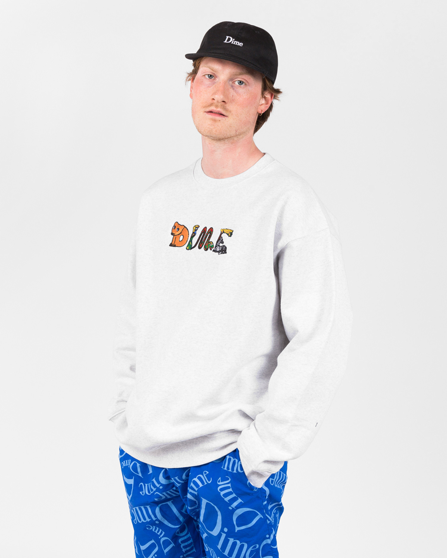 Dime Zoo Embroidered Crewneck Ash