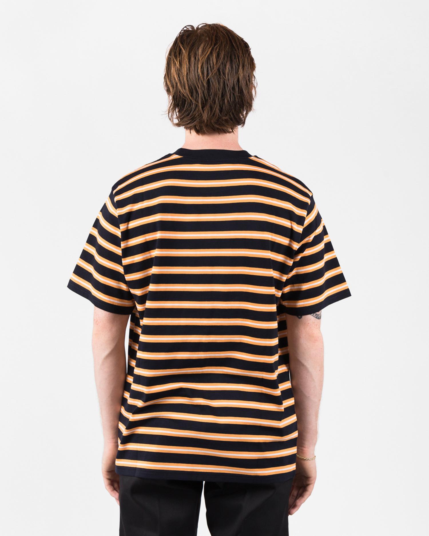 Carhartt Oakland Shortsleeve T-Shirt Stripee Dark Navy / Pop Orange stripe