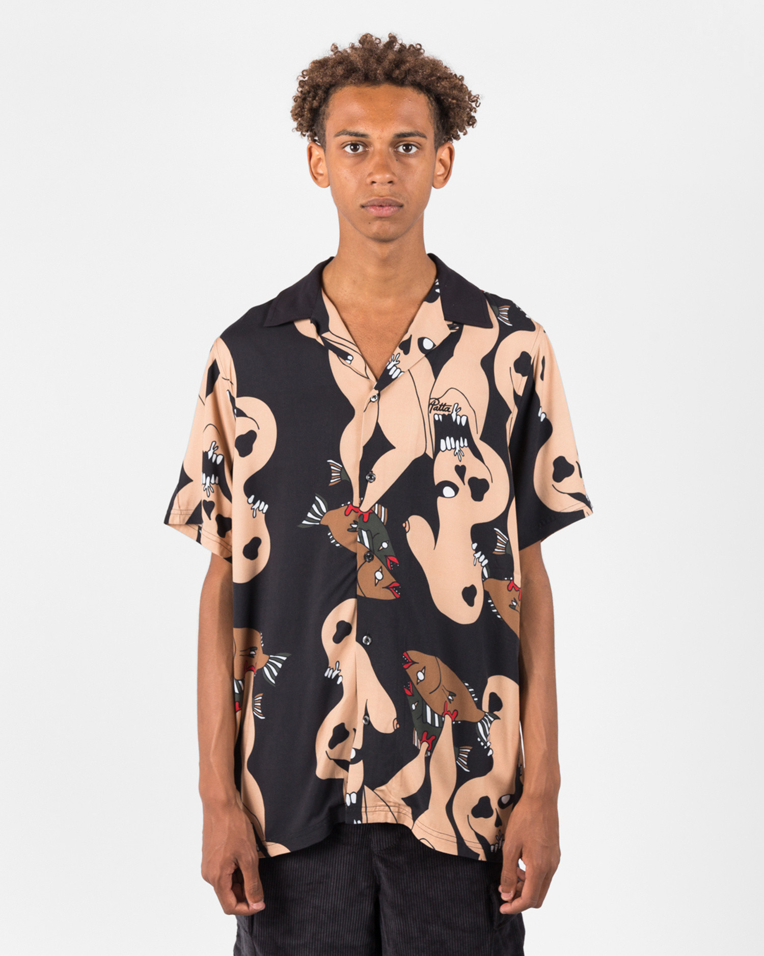 Patta Fish Feet Shortsleeve Rayon Shirt Black/Multi