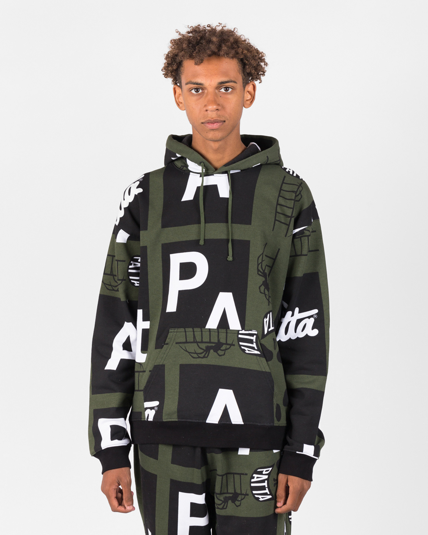 Patta Spider All Over Hooded Sweater Rifle Green
