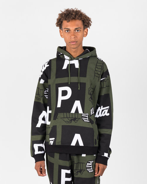Patta Patta Spider All Over Hooded Sweater Rifle Green