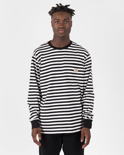 Carhartt Carhartt Longsleeve Parker Pocket T-shirt Stipe Black / Wax
