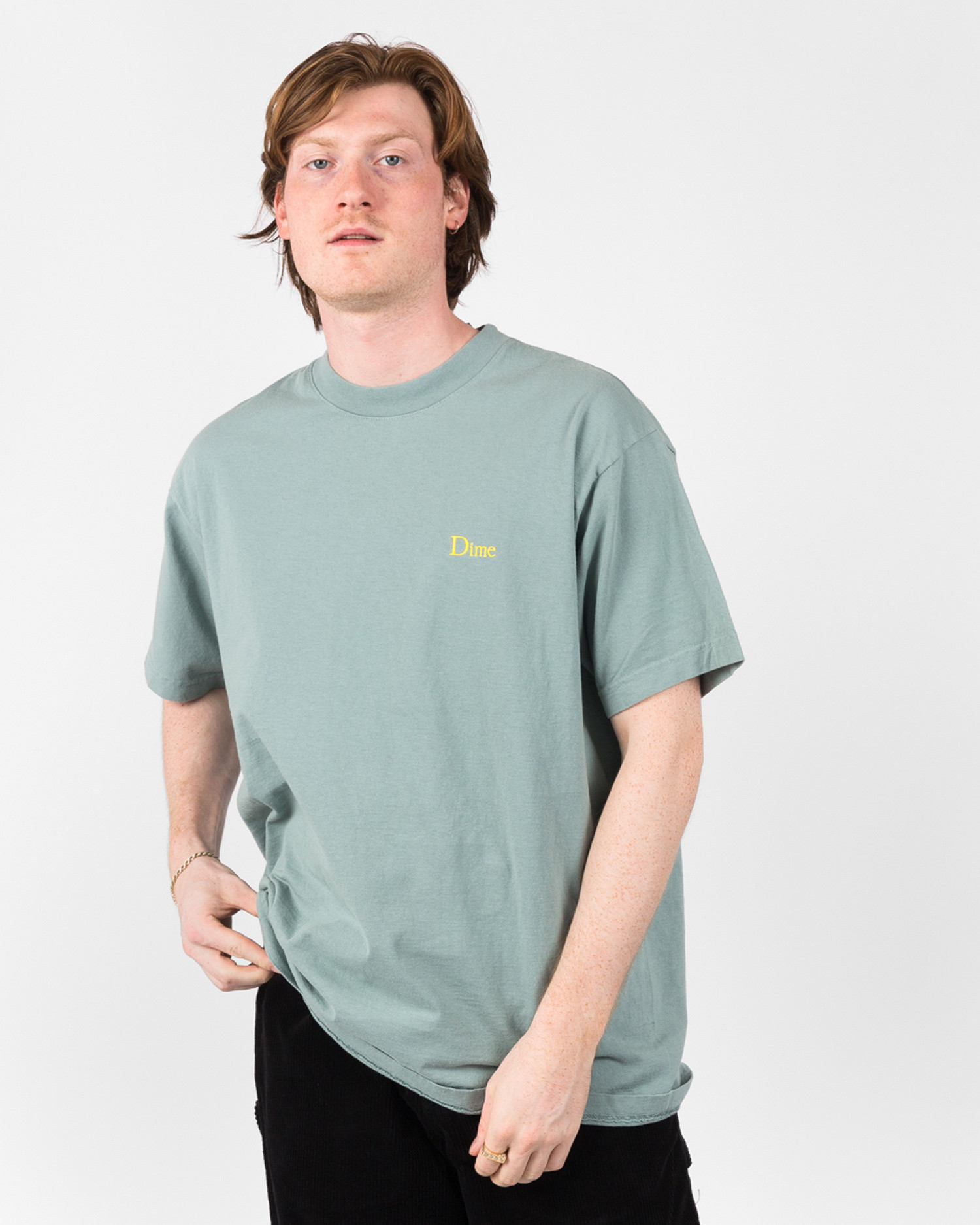 Dime Classic Logo T-Shirt Embroidered Atlantic Green