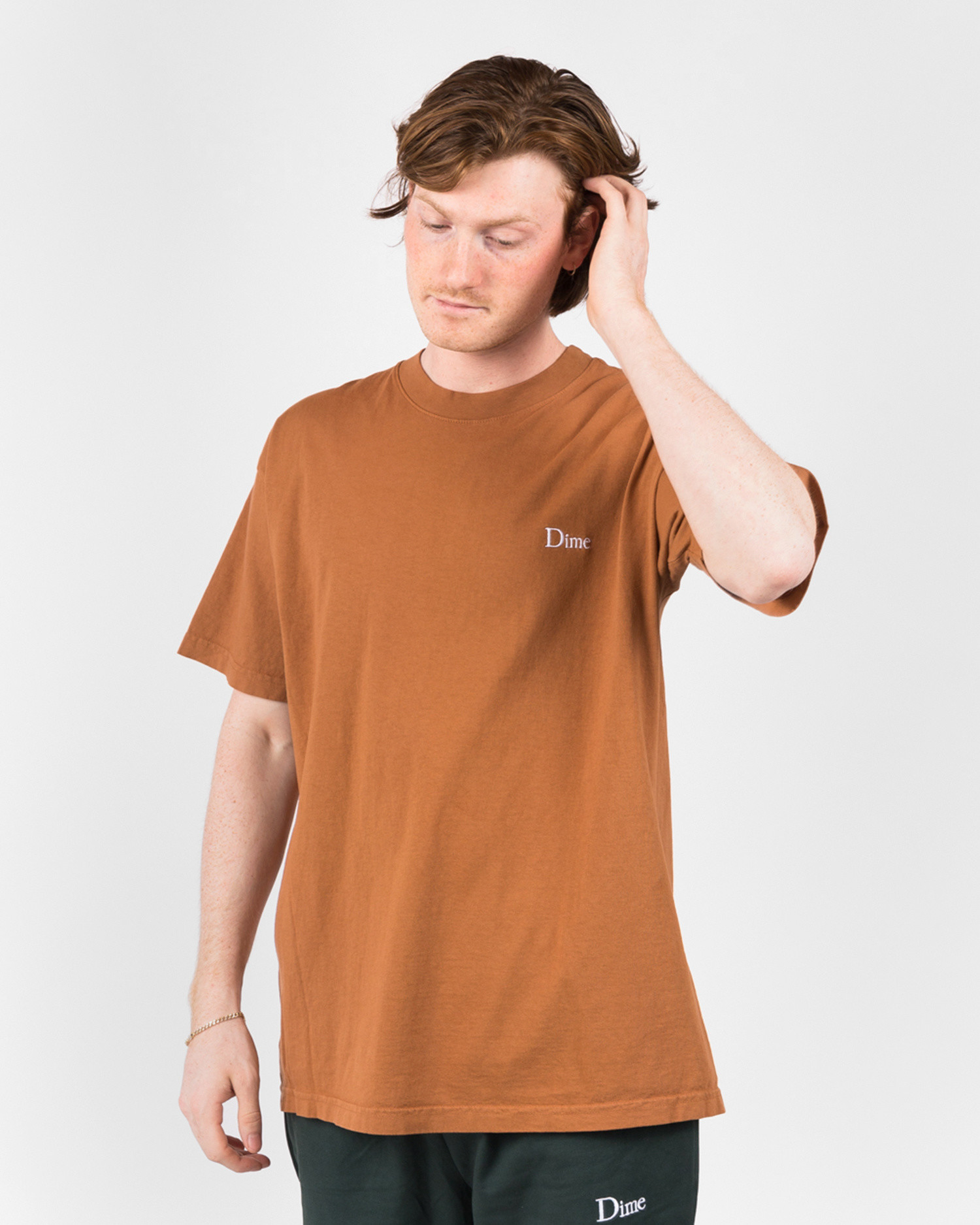 Dime Classic Logo T-Shirt Embroidered Coffee