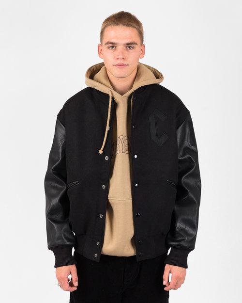 Chrystie Chrystie NYC  Prm Varasity Leather/Wool Jacket Black